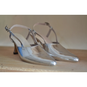 Ready Stock: Silver Glossy Pump Shoes