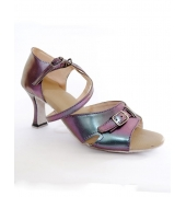 Sepatu Latin Purple Leather Metalic